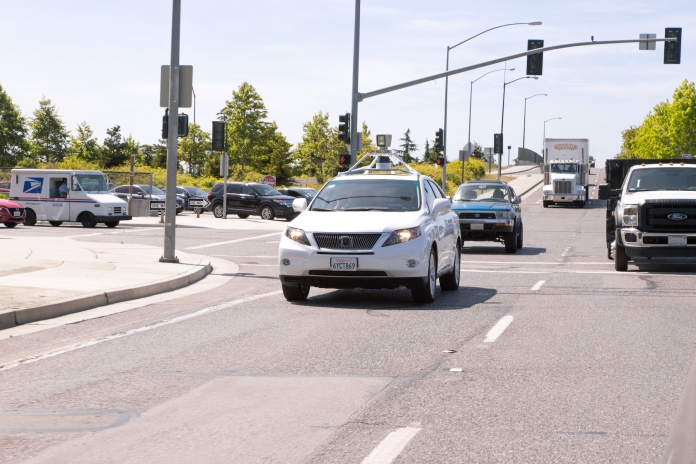 Driverless Car is between  theTraffic